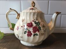 Sadler England Swirl Teapot White With Burgundy Roses And Gold Trim