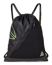 REEBOK Sackpack Backpack BLACK Green LIME Drawstring GYM  ONE SIZE FRONT ZIP NEW