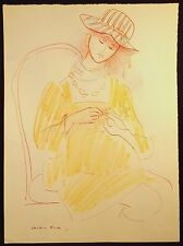 1971 CONSTANCE STOKES MIXED MEDIA DRAWING PREGNANT WOMAN MANICURING NAILS MELB.