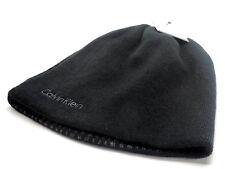 Calvin Klein Men's Reversible Beanie Knit Hat Black With Grey Logo New!