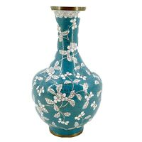 "Antique Chinese Cloisonne Turquoise & White Flowers Vase 1900's Enamel Brass 11"""