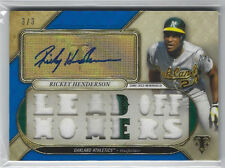 2017 Topps Triple Threads Ricky Henderson Autograph Relic Sapphire #'d 3/3  RARE