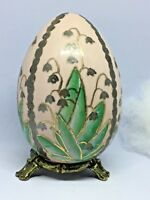 "VTG! PORCELAIN FLOWERS Decorative Hand Painted Pink EGG w/Bronze Stand ~4.5""tall"