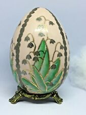 """VTG! PORCELAIN FLOWERS Decorative Hand Painted Pink EGG w/Bronze Stand ~4.5""""tall"""