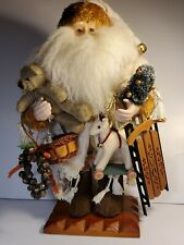 "Grandeur Noel Collectors Edition 2001 16"" Fabric Santa on Display Stand"