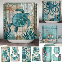Bathroom Rug Set Non-Slip Toilet Lid Seat Cover Carpet Bath Mat Shower Curtain