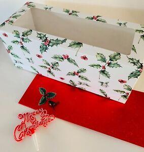 CHRISTMAS YULE LOG KIT Set with Festive Holly Robin Oblong Xmas cake CARD BOX