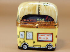 Limoges France Hinged Trinket Box, Yellow Fruit Delivery Truck - Hand Painted