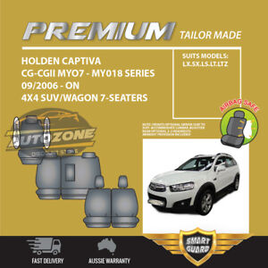 Premium Seat Covers for Holden Captiva CG - CGII 09/2006 - On 7 Seater 3Rows BLK