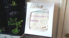 Vtg Nos Wool Blend Faribo Cream Fringe Blanket in Box + Tag Unused Made in Usa