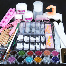 Acrylic Powder Glitter Nail Brush False Finger Pump Tips Nail Art Tool Kits Set