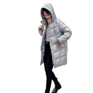 Women's Down Cotton Jacket Long Winter Ladies Cotton Jacket Hood Cotton Coat