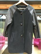 Isabel Marant black wool coat with leather sleeves sz0 fit 10 /12 uk