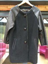 Isabel Marant negro de lana abrigo con mangas de cuero talla 0 ajuste 10/12 UK