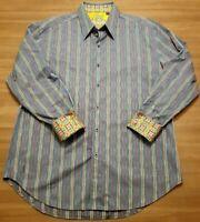 Robert Graham Mens XL L/S Button Front Shirt Striped Geometric Flip Cuffs