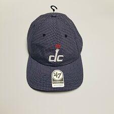 Washington Wizards 47 Brand Clean Up Hat Adjustable Cap Navy Checkered Plaid