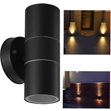 Black Stainless Steel Up Down Wall Light GU10 Double Outdoor Spot LED Lamp UKES