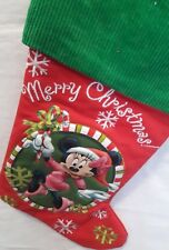 DISNEY 3-D puffy MINNE MOUSE Merry Christmas stocking corduroy tie red green