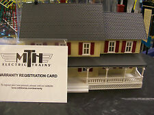 MTH Railking Lghted Country House # 4 Yellow, Red w/ Grey Roof Lionel Compatible