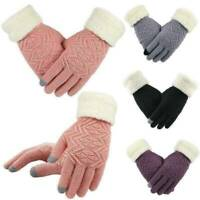 UK Lady Winter Warm Touch Screen Glove Full Finger Knitted Fleece Thermal Gloves