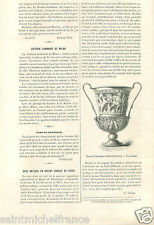 Musée de Hermitage Museum old vase Silver Lined Glass Russia GRAVURE PRINT 1883