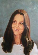 "Original De Brad Dillon ""De Kate Middleton"" Familia Real Duquesa Retrato Pintura"