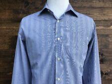BEN SHERMAN Men's Blue Striped Long Sleeve Shirt 100% Cotton Size 16 - 34/35