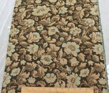 "Antique c1920 French Cotton Jacquard Brown & Blue Floral Tapestry Fabric~34""X18"""