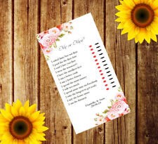 Personalised Wedding Mr or Mrs x12 Cards Table Game Favour I Spy Adult MM14