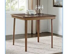 """STAKMORE 32"""" Folding Card Solid Wood Table Light Brown Finish No Assembly"""