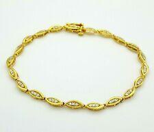 Ladies Bracelet 10ct (417, 10K) Yellow Gold Diamante Bracelet