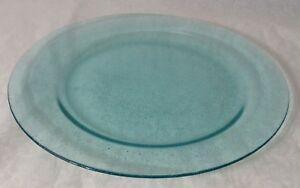 "Aqua Blue Clear Glass 14"" Platter Okinawa Style Hand Blown-?? 10"" Inner Circle"