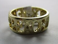 Ring Size 8 PEACE Cut Out Filigree Wide Band Shiny Gold Spiritual Hippy NWT T4