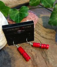 Red Coral Sterling silver 925' Heishi beads  earrings, colorful and bright