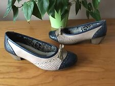 Ladies Rieker navy taupe leather ballerina heeled pump with bow shoes UK 5 EU 38
