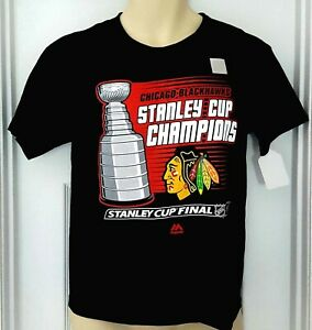CHICAGO BLACKHAWKS Youth T Shirt Size Medium Stanley Cup Champions Majestic New
