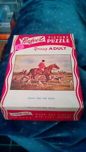 """antique 1930s Perfect Picture Puzzle Ready For The Hunt 10"""" x 13 1/2"""" (225+ pc)"""