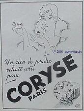 PUBLICITE CORYSE PARFUM CREME POUDRE DE BEAUTE DE 1928 FRENCH AD PUB ART DECO
