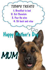 German Shepherd Dog Mother's Day Card Treats chmd170 A5 Personalised Greeting