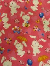 4 Yards White Bunny Rabbit Fabric Hobby Lobby Valentine Flowers Hearts Pink
