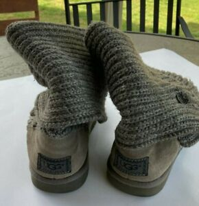 UGG Australia Gray Classic Cardy Knit Tall Sweater Boots 5819 Size 7