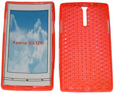 For Sony Xperia S LT26i LT26 Pattern Soft Gel Case Protector Cover Orange New UK