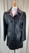 GHARANI STROK Ladies Mid Length Leather Coat Size 38 / UK 12 Excellent Condition