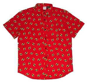 Disney The Incredibles Men's T Shirt Button Up Logo All Over