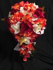 Fall Wedding Bridal Bouquet Cascade Burgundy Orange Silk Rose Flower Package
