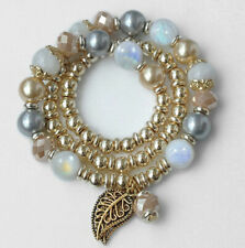 8mm Blue Moonstone Pearl Round Beads Stabilized Alloy Bracelet BMLM7