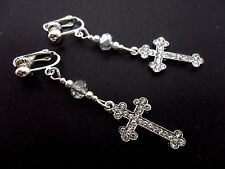 A PAIR OF LONG CRYSTAL  DIAMANTE CROSS CLIP ON EARRINGS. NEW.
