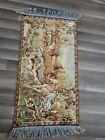 Vintage Tapestry Victorian Horses People Deer W Fringe Rug ?