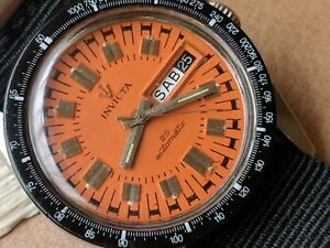Vintage Invicta Day-Date Diver Watch w/Orange Dial,Signed Crown FOR PARTS/REPAIR