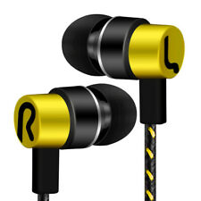3.5mm In-Ear Bass Stereo Earbuds Music Headset Wired For Cell Phone Yellow Color